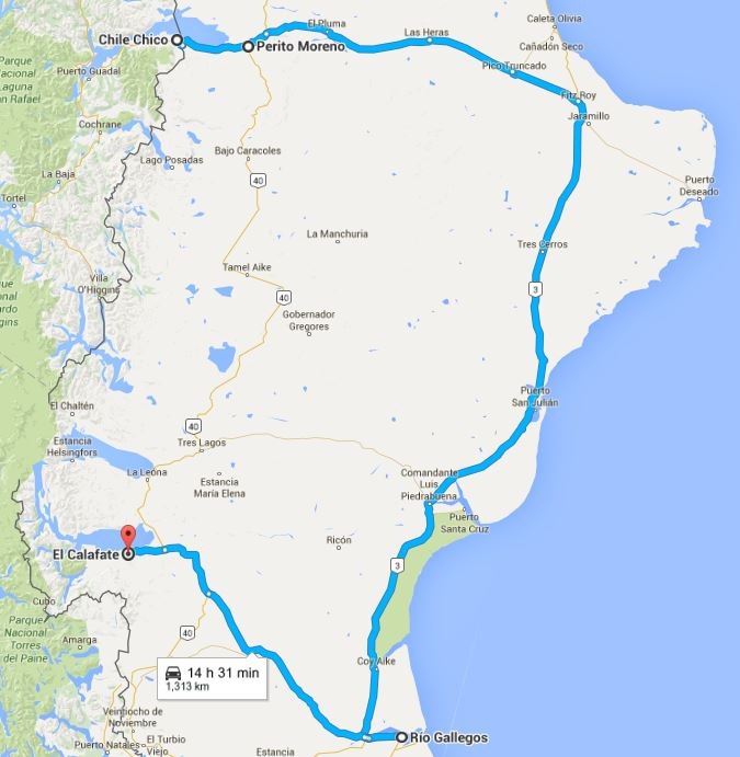 My first choice was to head south, and south only, via Ruta 40 from Perito Moreno to El Chalten, a 700 kilometre, 13-hour bus trip (Google says you can do it in a car in 8 hours). But, & with no such direct bus available, at least not for a few days, if at all, I ended up going, as seen here, east to join the coastal Ruta 3 before then heading south to Rio Gallegos & west on Ruta 5 to my destination of El Calafate, a 1,313 kilometre trip that took 18 bus hours (Google estimated 14 and a half car hours).