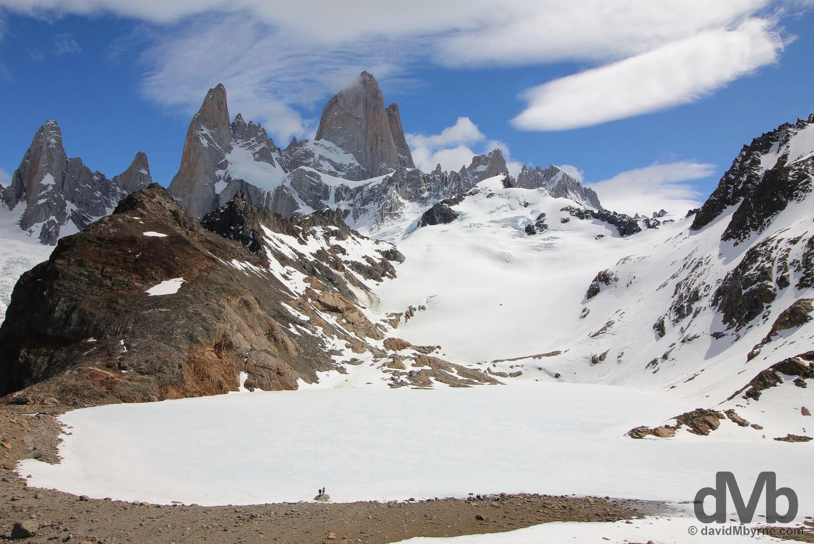A frozen Laguna de los Tres fronting Monte Fitz Roy in Parque Nacional Los Glaciares, southern Patagonia, Argentina. November 4, 2015.
