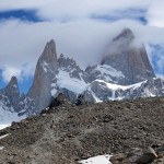 Hiking towards the cloud-covered peaks of the Fitz Roy sector of Parque Nacional Los Glaciares, southern Patagonia, Argentina. November 4, 2015.