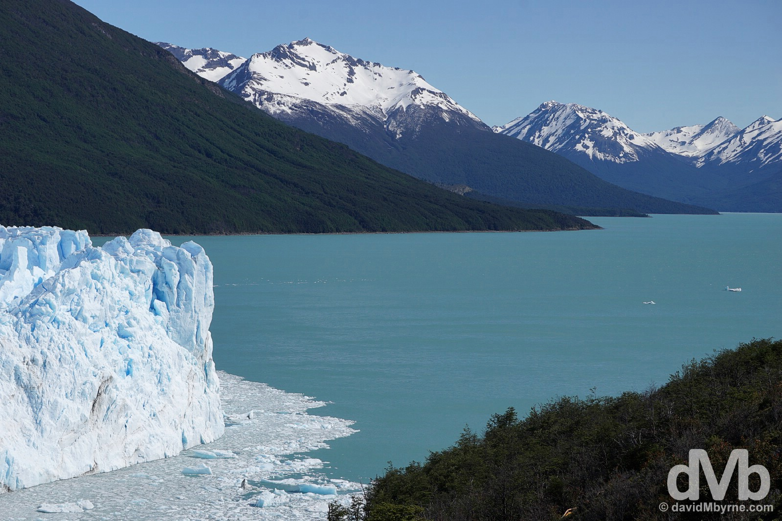 The 60 metre-high snout of the Perito Moreno Glacier, the Canal de los Tempanos (Iceberg Channel) & Lago Argentino as seen from the system of elevated walkways on Peninsula Magallanes of Parque Nacional Los Glaciares, southern Patagonia, Argentina. November 2, 2015.