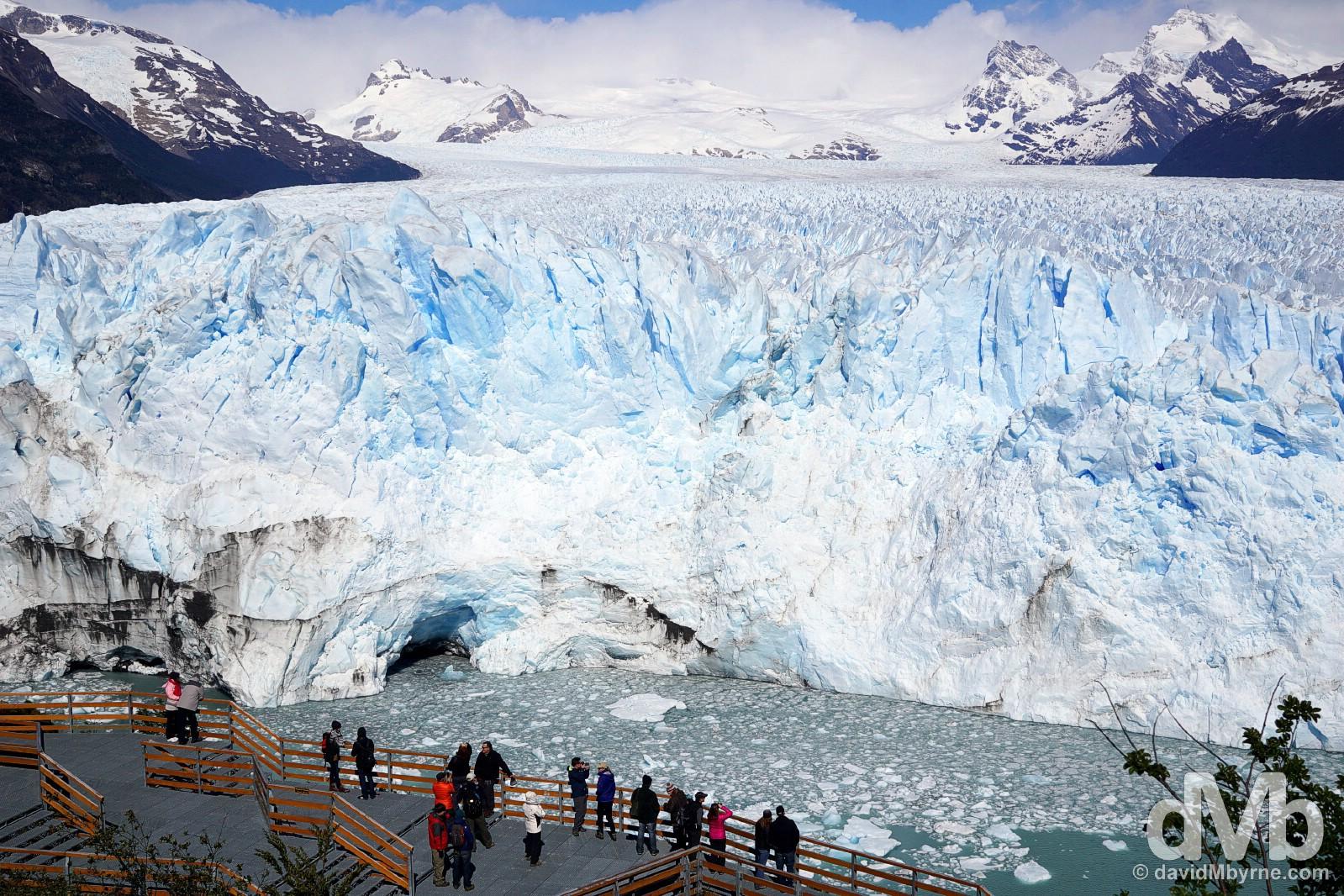 Viewing the Perito Moreno Glacier from the viewing platforms across the Canal de los Tempanos (Iceberg Channel) in Parque Nacional Los Glaciares, Patagonia, Argentina. November 2, 2015.