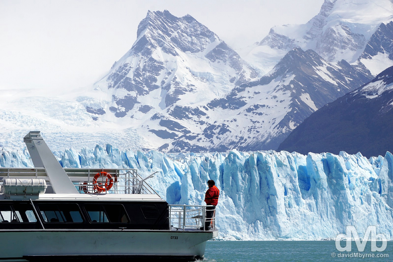 Boating on Lago Argentino in view of the Perito Moreno Glacier in Parque Nacional Los Glaciares, Patagonia, Argentina. November 2, 2015.
