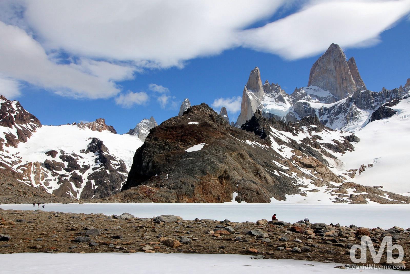Resting by Laguna de los Tres in Parque Nacional Los Glaciares, southern Patagonia, Argentina. November 4, 2015.