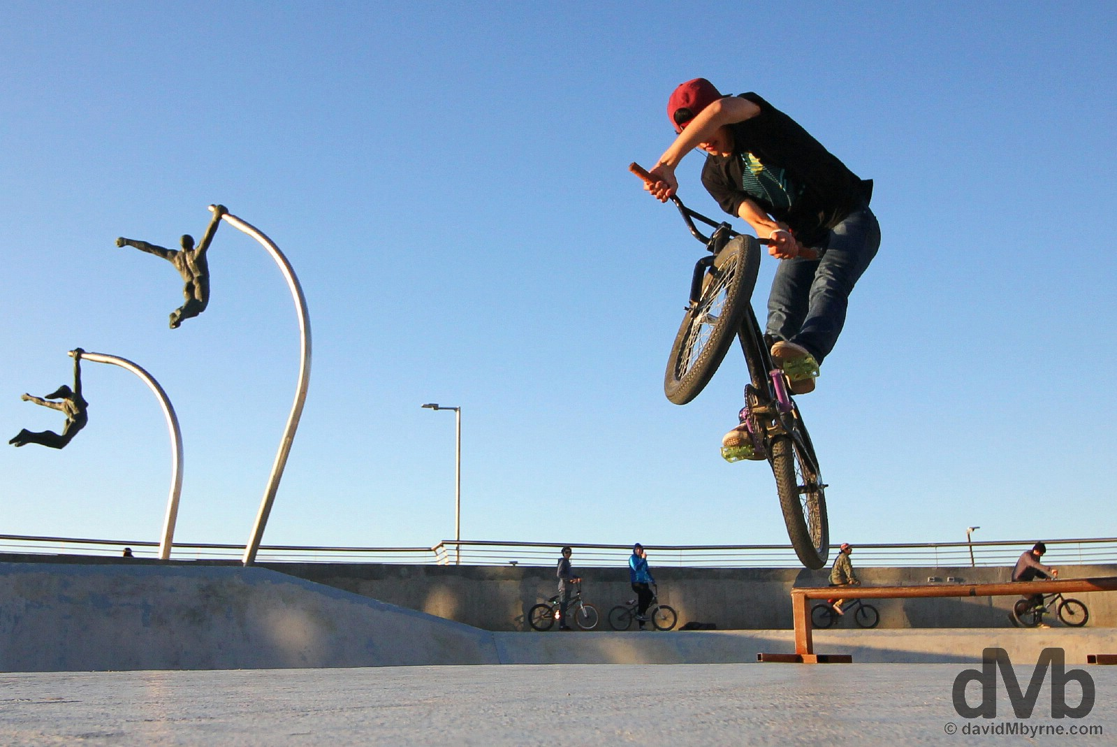 Moves in the Skate Park by Seno Ultima Esperanza in Puerto Natales, southern Patagonia, Chile. November 6, 2015.