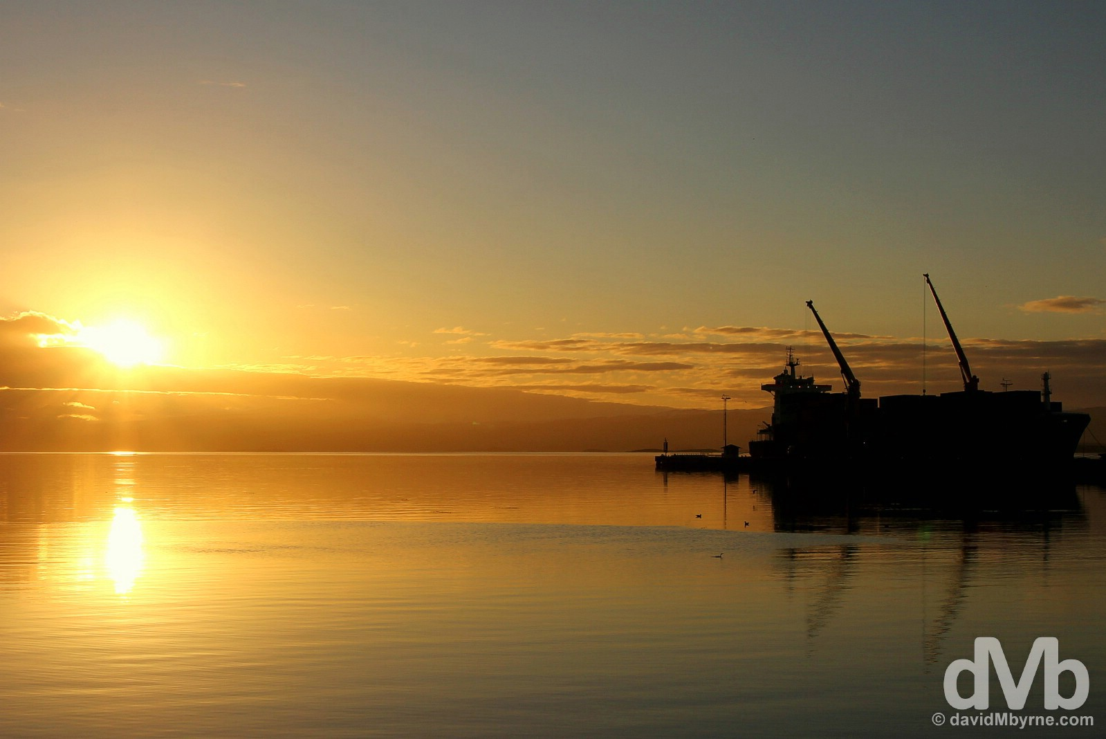 Sunrise in Ushuaia port, Tierra del Fuego, Argentina. November 19, 2015.