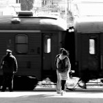 On the platform of the train station in Sarajevo, Bosnia and Herzegovina. April 6, 2015.