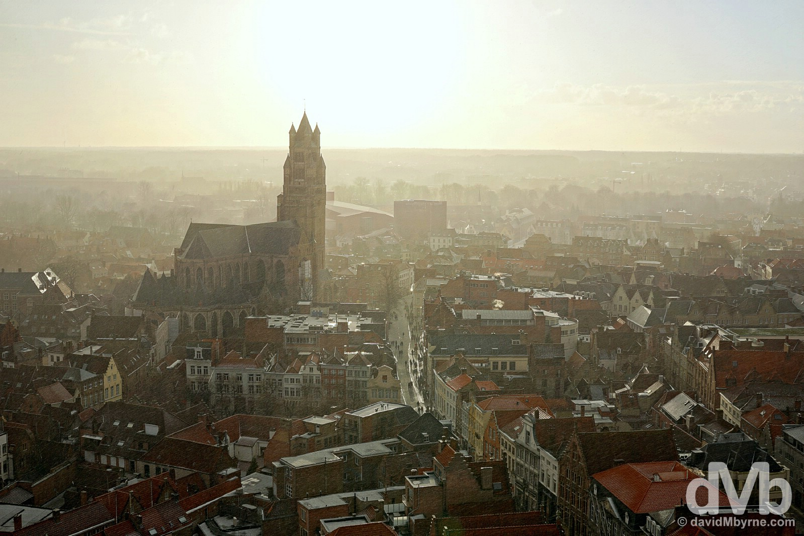 St Salvatorskathedraal and western Bruges during a late afternoon hail shower as seen from the city's Belfort. Bruges, western Flanders, Belgium. January 16, 2015.