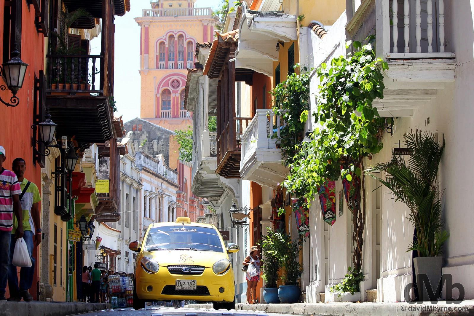 Calle de la Estrella in UNESCO-listed Old Town, Cartagena, Colombia. June 25, 2015.