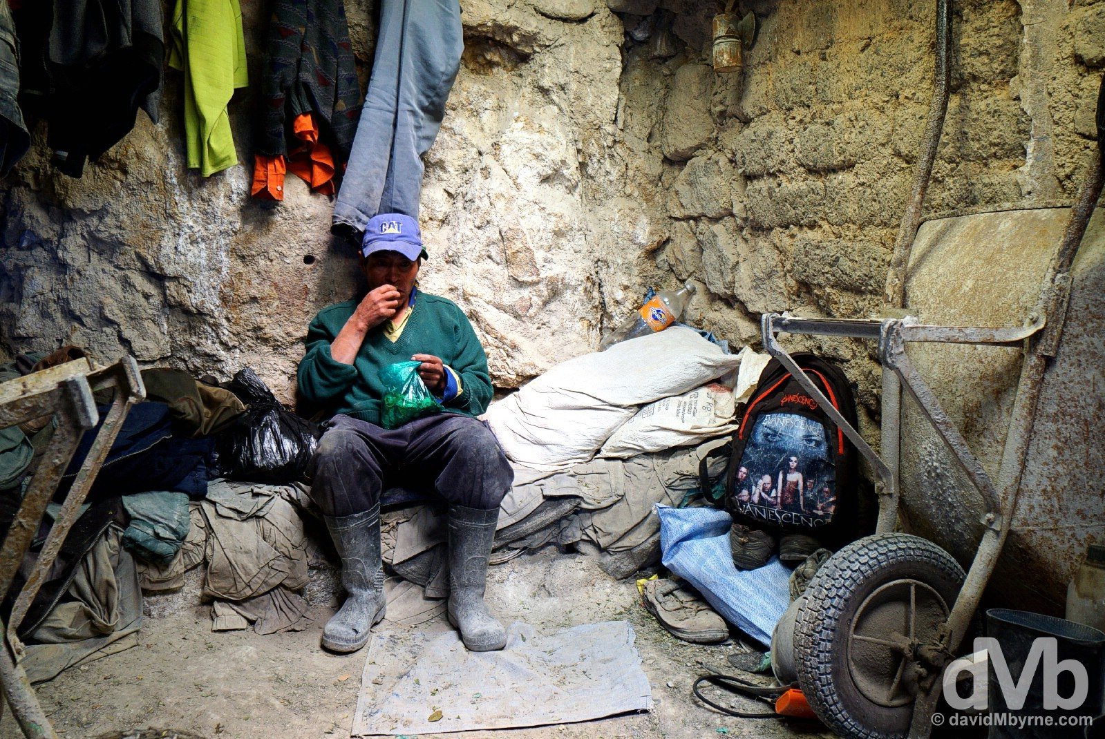 A miner chewing coca leaves during a break from work in the Cerro Rico Mines, Potosi, Bolivia. September 1, 2015.