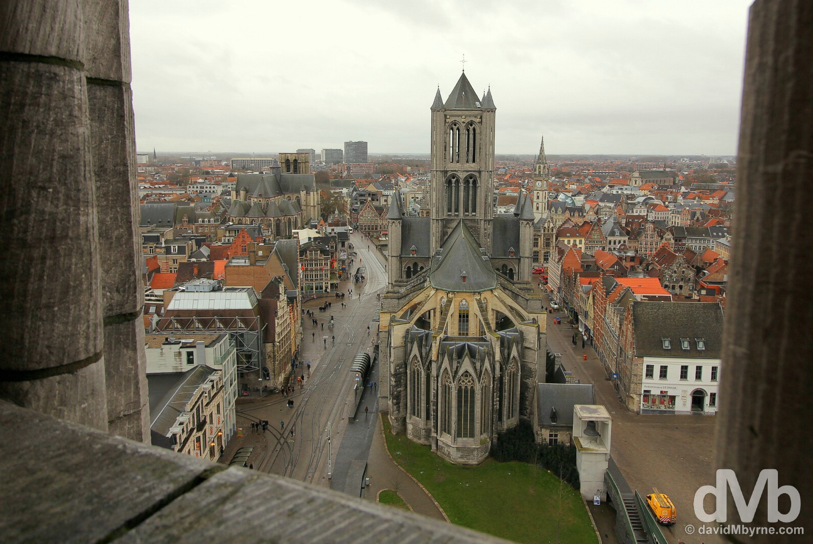 Sint Niklaaskerk/St. Nicholas' Church as seen from the windswept 91-metre-tall, UNESCO-listed Belfry in Ghent, western Flanders, Belgium. January 15, 2016.