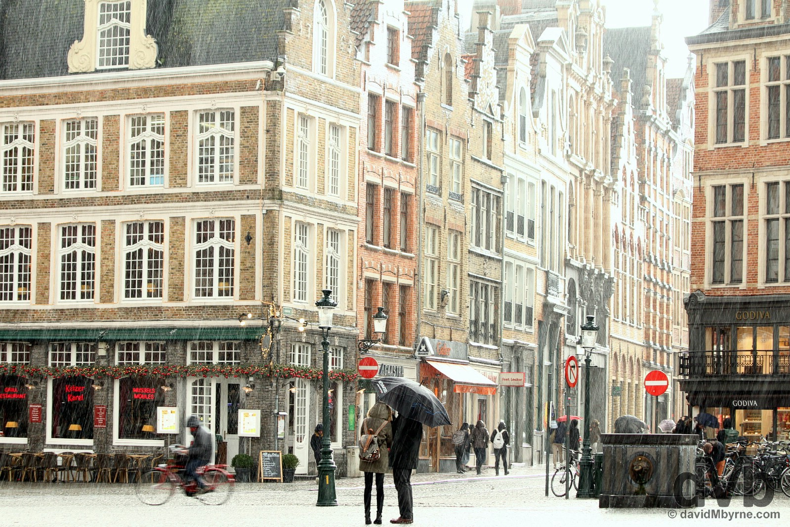 Afternoon hail showers in Market, central Bruges, western Flanders, Belgium. January 15, 2016.