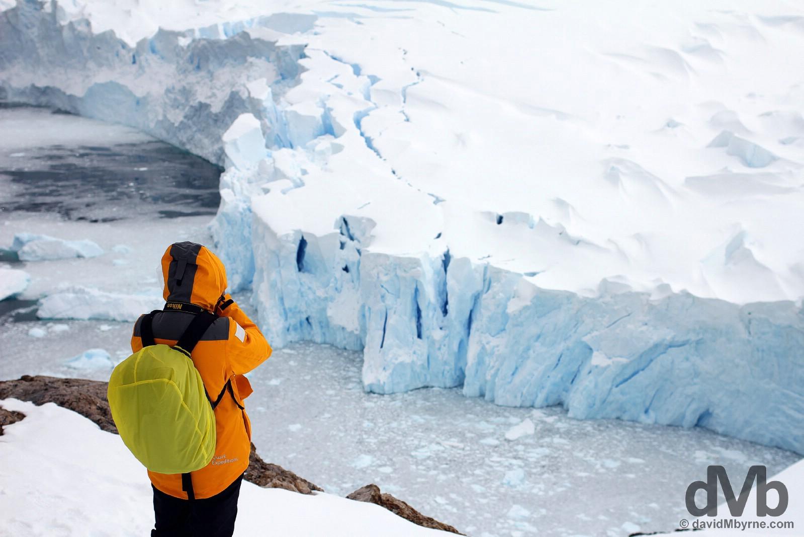 Overlooking the massive glaciers in Neko Harbour, Antarctic Peninsula. November 30, 2015.