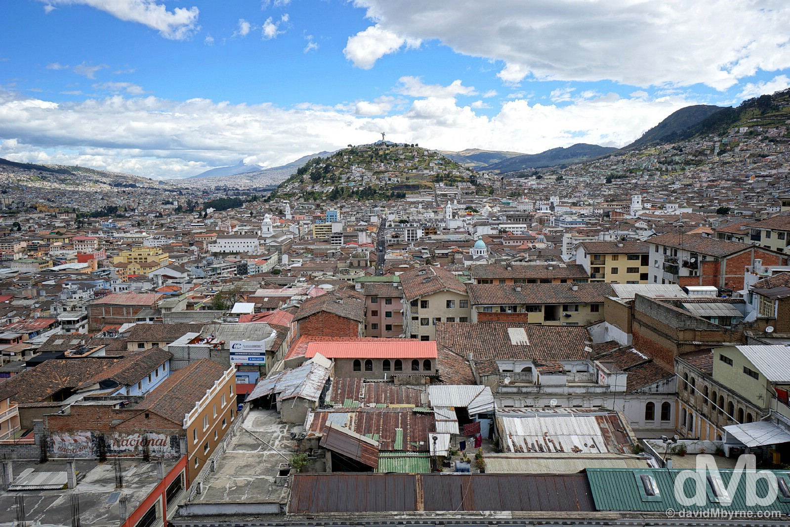 A portion of Quito, Ecuador, as seen from the bell tower of the Gothic Basilica del Voto Nacional. July 4, 2015.