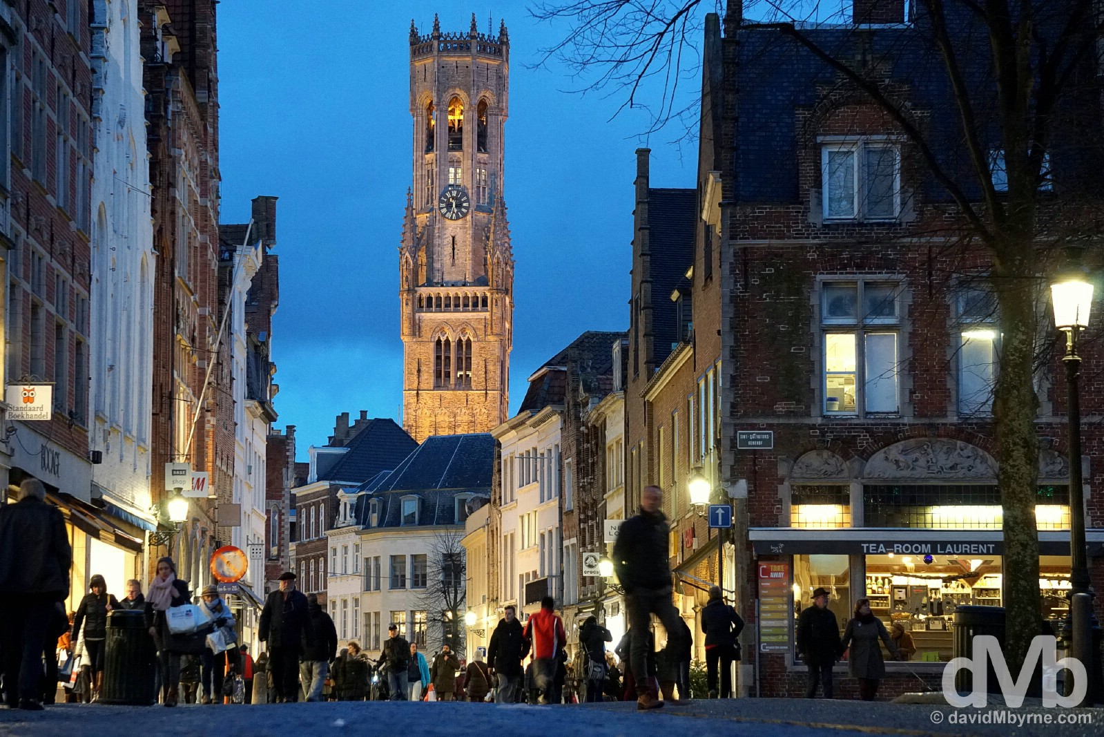 The Belfort at dusk as seen from as seen from Steenstr in Bruges, western Flanders, Belgium. January 16, 2015.