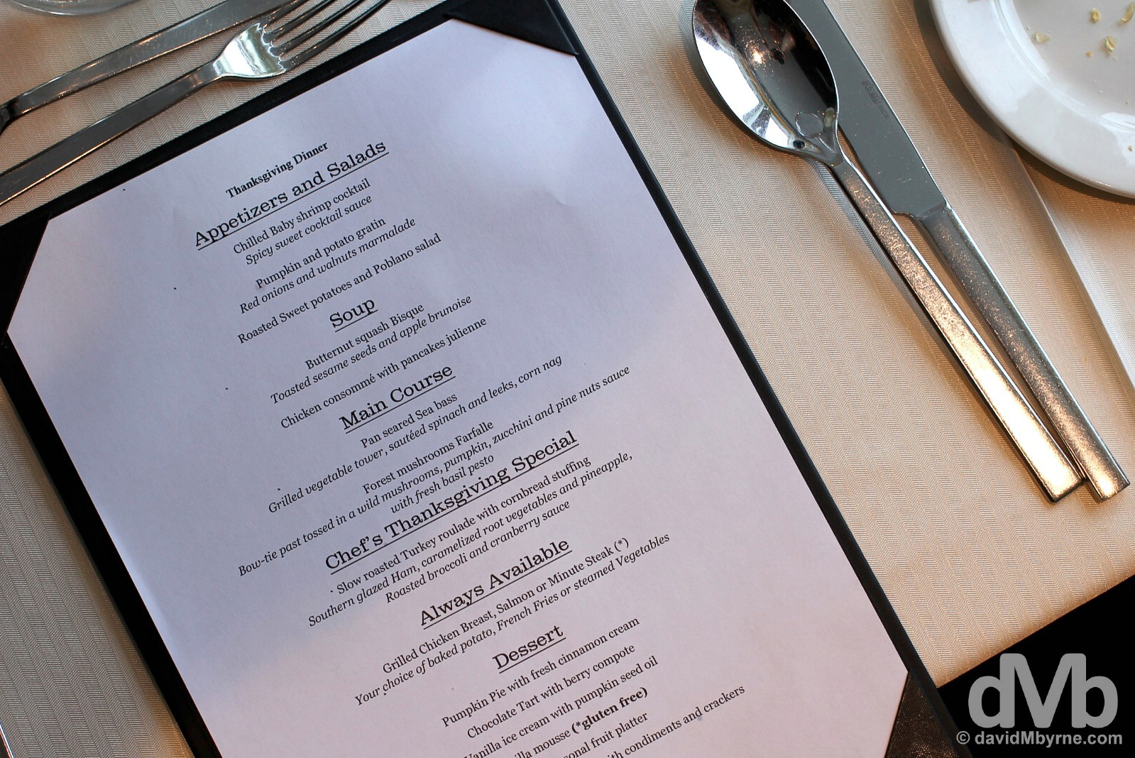 Thanksgiving Dinner Menu 2015 on board the M/V Ocean Endeavour, Beagle Channel. November 26, 2015.