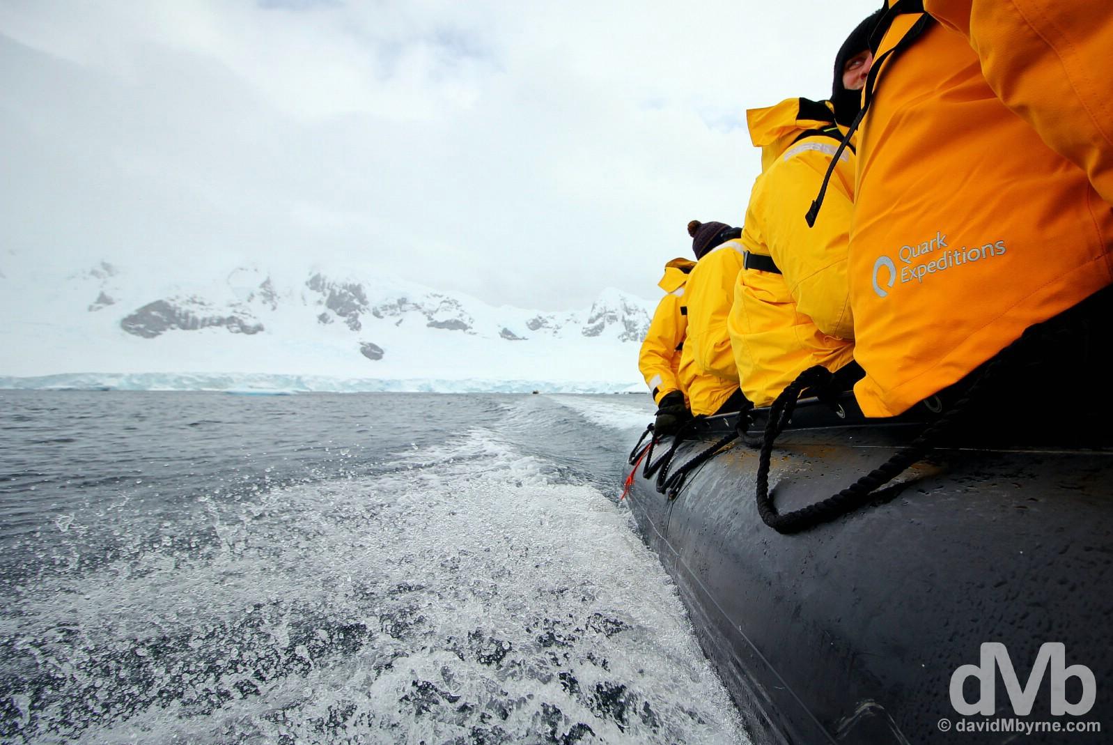 Zodiac cruising near Danco Island, Antarctic Peninsula. November 30, 2015.