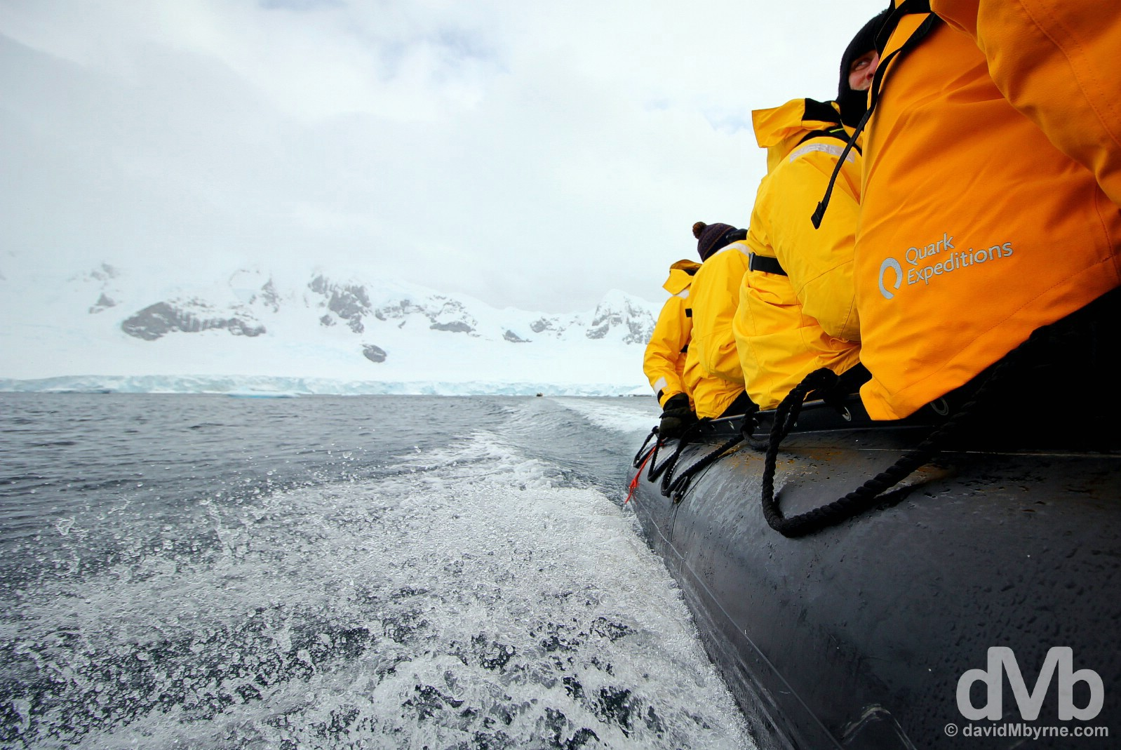 Zodiac cruising near Danco Island, Antarctic Peninsula. November 30, 2015.