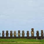 The moai of Ahu Tongariki on Easter Island, Chile. September 29, 2015.