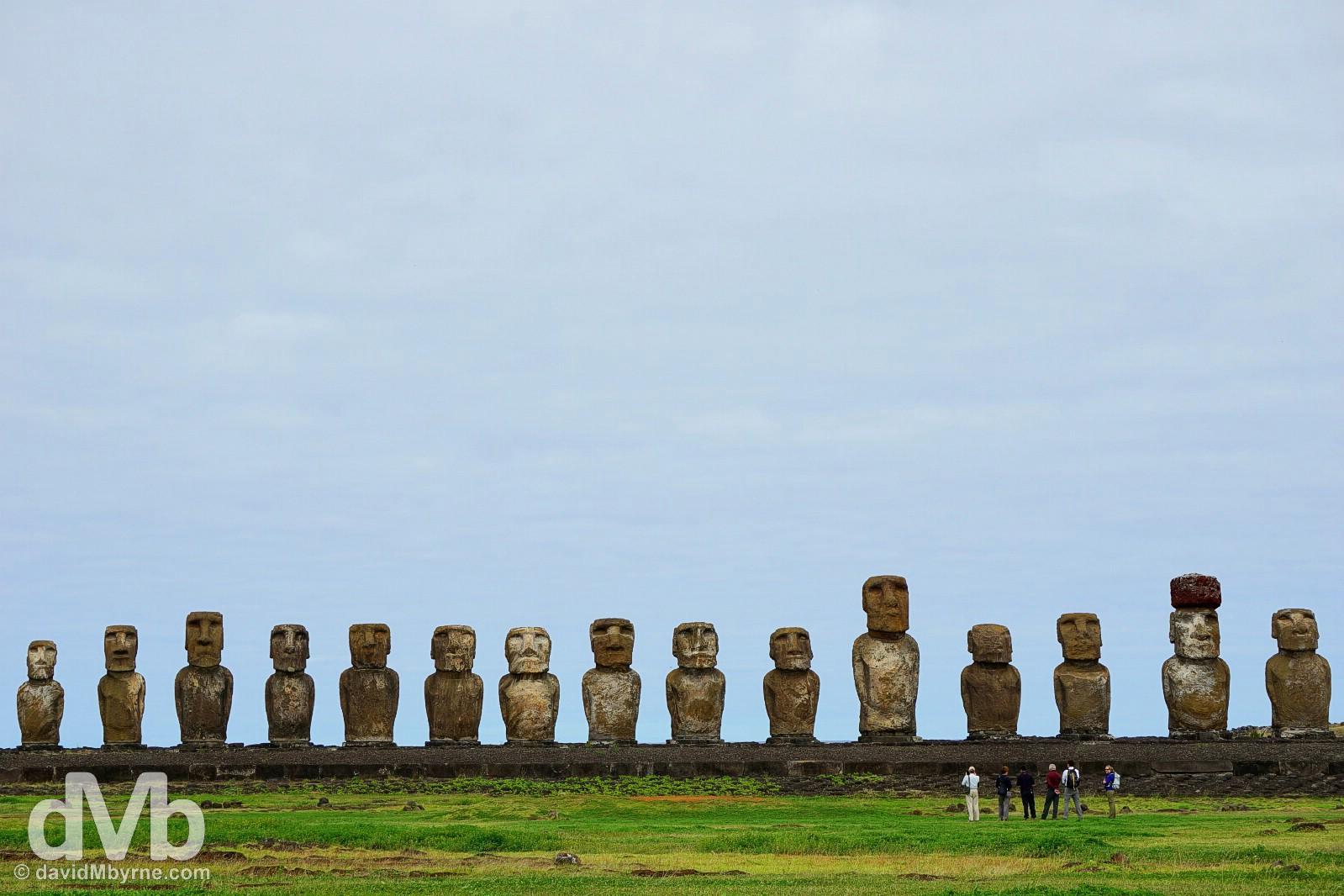 The moai of Ahu Tongariki on Easter Island, Chile. September 29, 2016.
