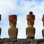 The moai of Ahu Nau Nau, Anakena, Easter Island, Chile. October 1, 2015.