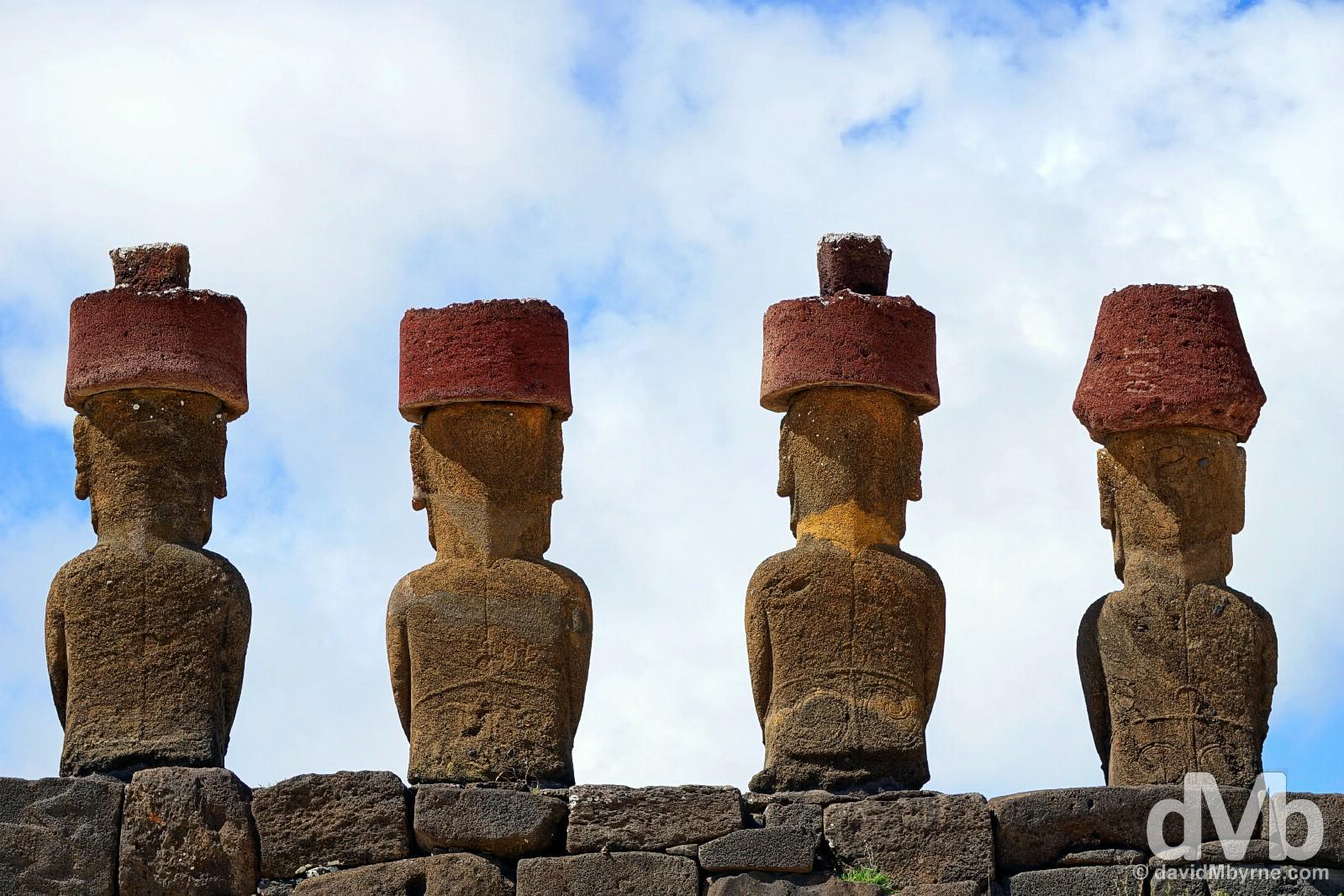 The moai of Ahu Nau Nau, Anakena, Easter Island, Chile. October 1, 2016.