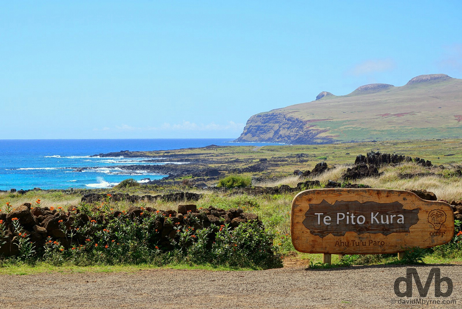 The entrance to Te Pito Kura, Easter Island, Chile. October 1, 2016.