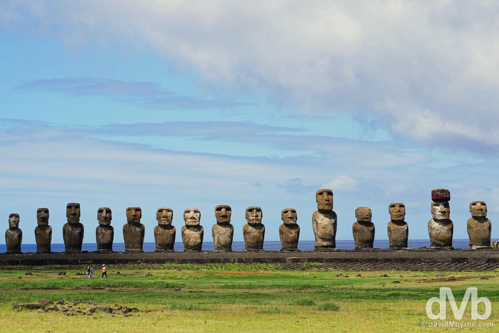 The 15 moai of Ahu Tongariki, Easter Island, Chile. October 1, 2015.