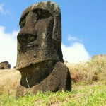 A moai in the crater of Rano Raraku, Easter Island, Chile. October 1, 2015.