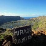 Overlooking Rano Kau on Easter Island, Chile. October 3, 2015.