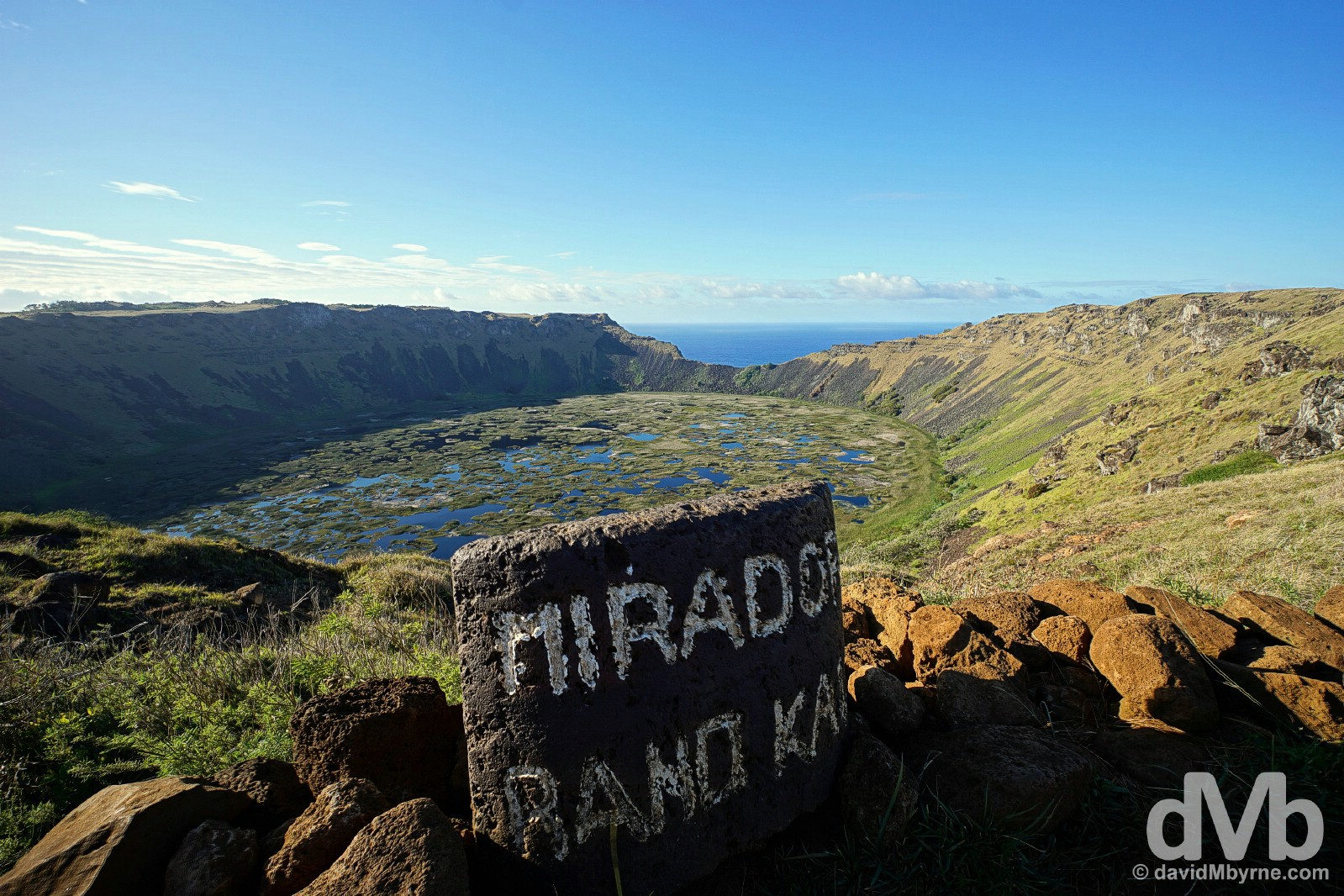 Overlooking Rano Kau on Easter Island, Chile. October 3, 2016.