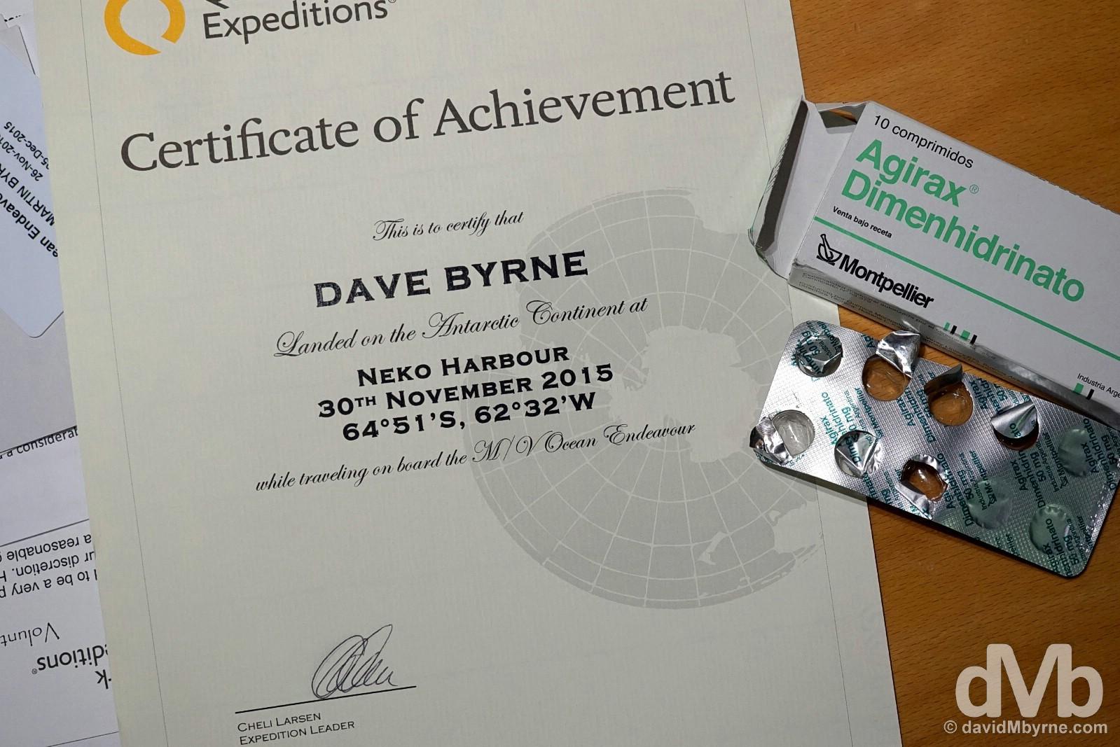 Antarctica Certificate of Achievement. December 4, 2015.