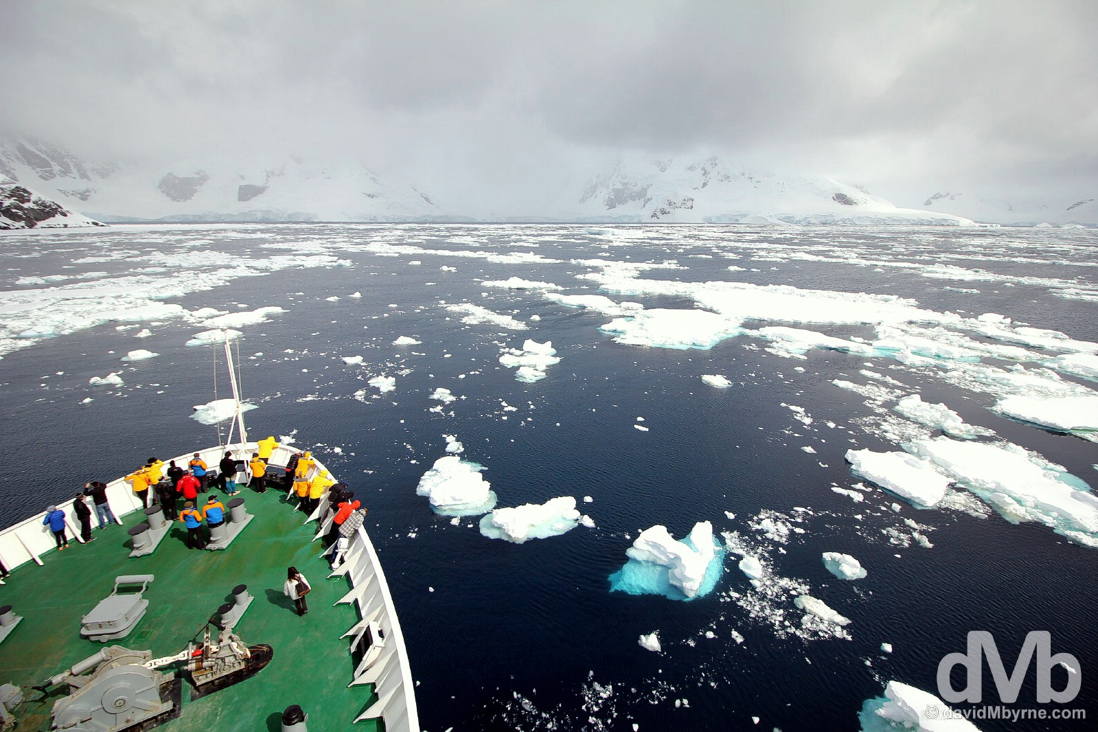 Slowly does it navigating through ice in Paradise Bay, Antarctica. December 1, 2015.
