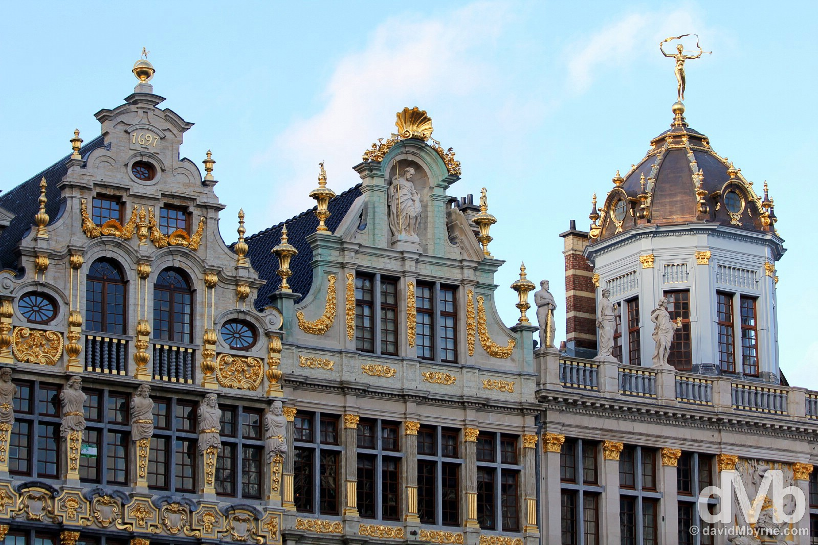 Building facades in Grand Place, Brussels, Belgium. January 14, 2016.