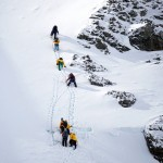 Climbing in the snow on Cuverville Island, Antarctic Peninsula. December 1, 2015.