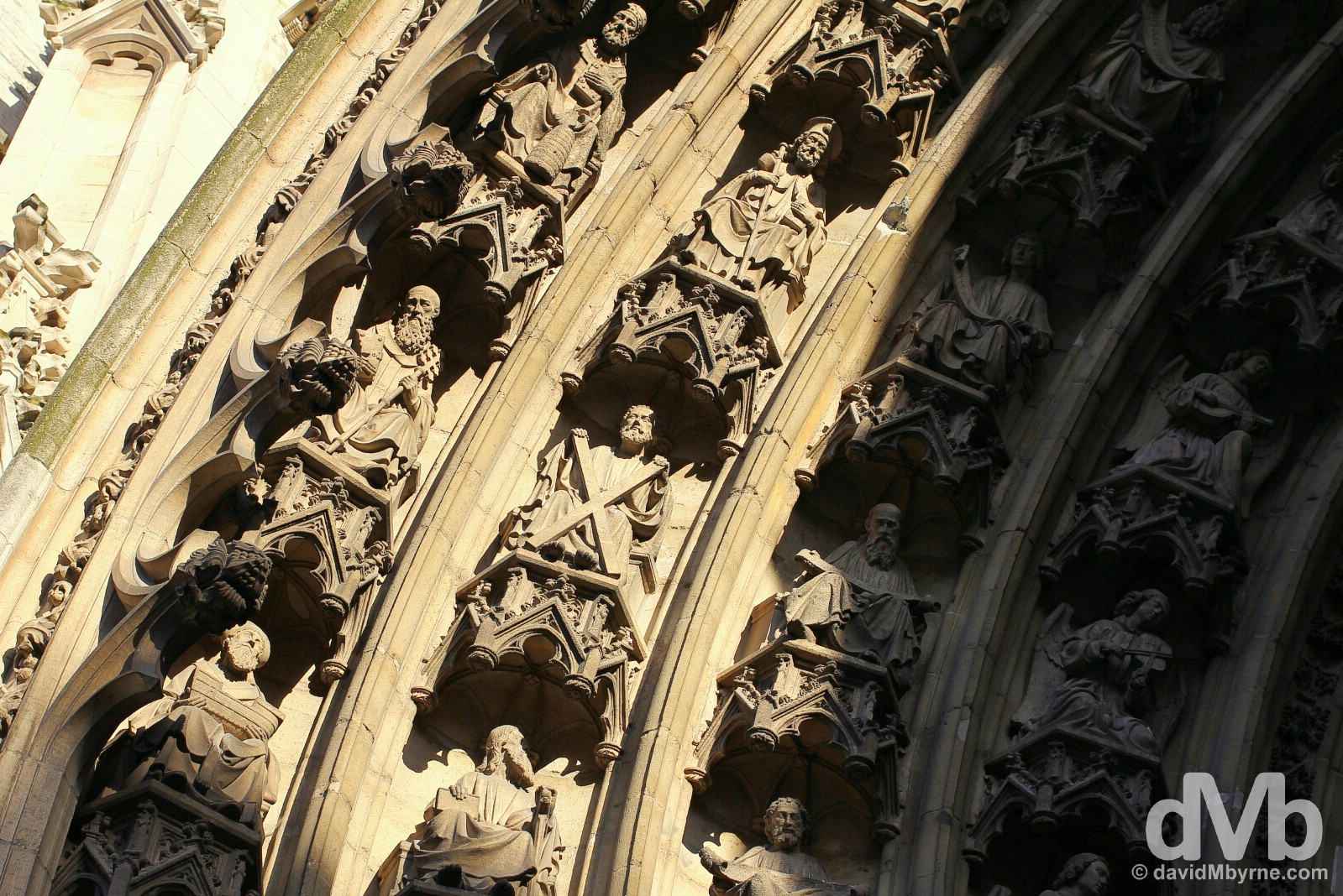 Detail above the main entrance to the Onze Lieve Vrouwekathedraal in Antwerp, Belgium. January 17, 2016.