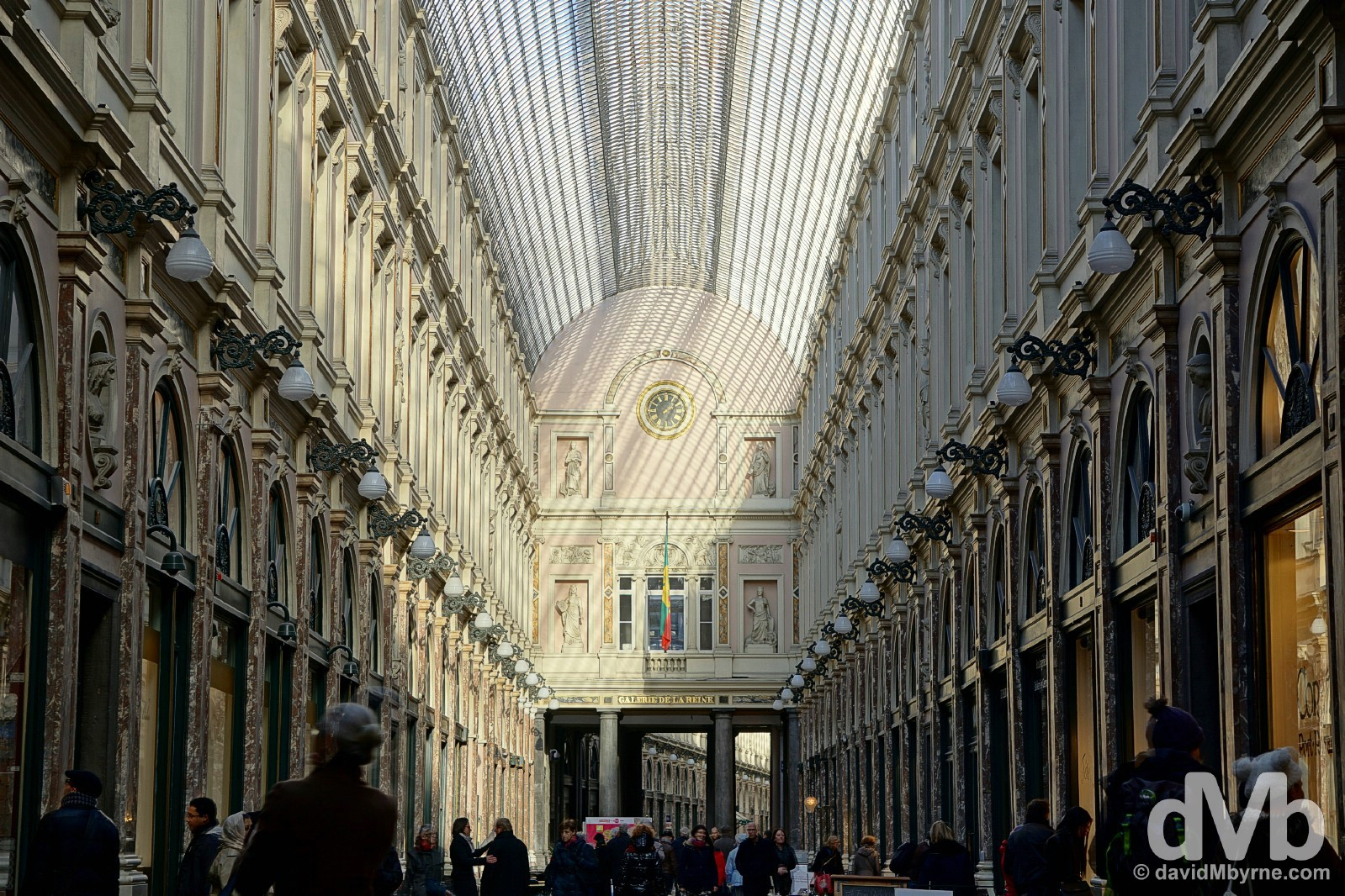 The 1847 arcaded Galeries St Hubert, Europe's first shopping centre. Brussels, Belgium. January 14, 2016.