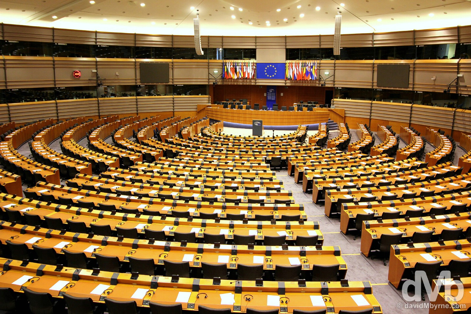 The Hemicycle of the EU Parliament in Brussels, Belgium. January 14, 2016.