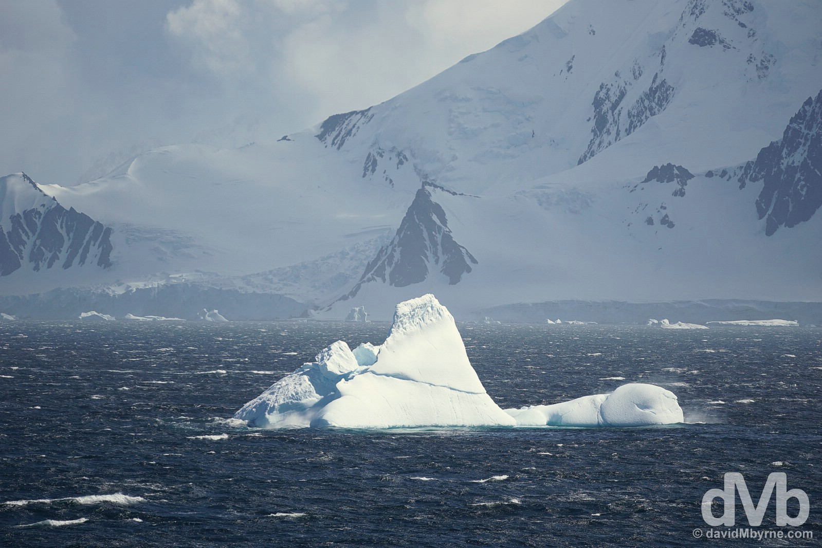 An iceberg in the windswept Bransfield Strait, Antarctica. November 29, 2015.