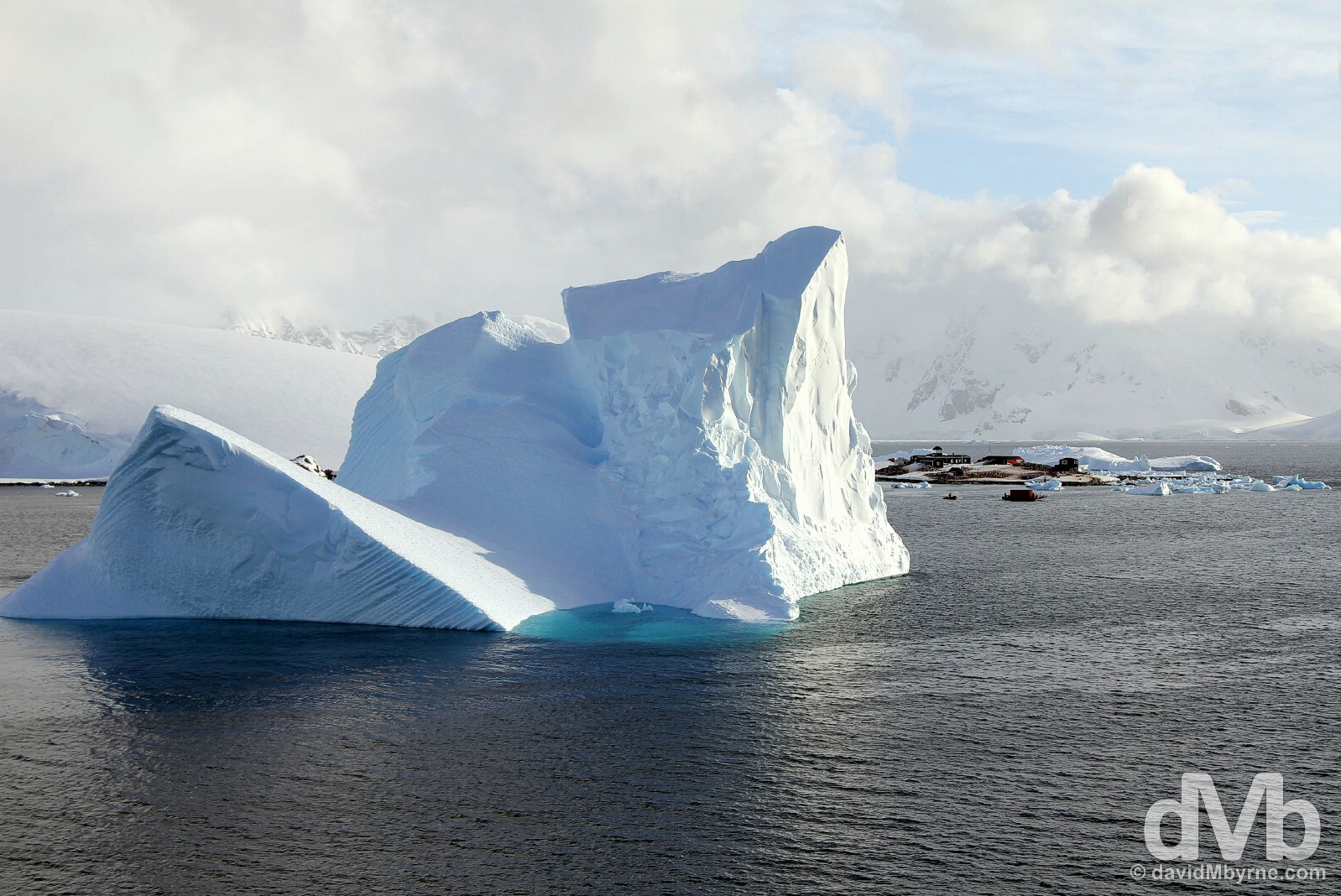 An Iceberg towering over the nearby Chilian González Videla Base in Antarctica. December 1, 2015.