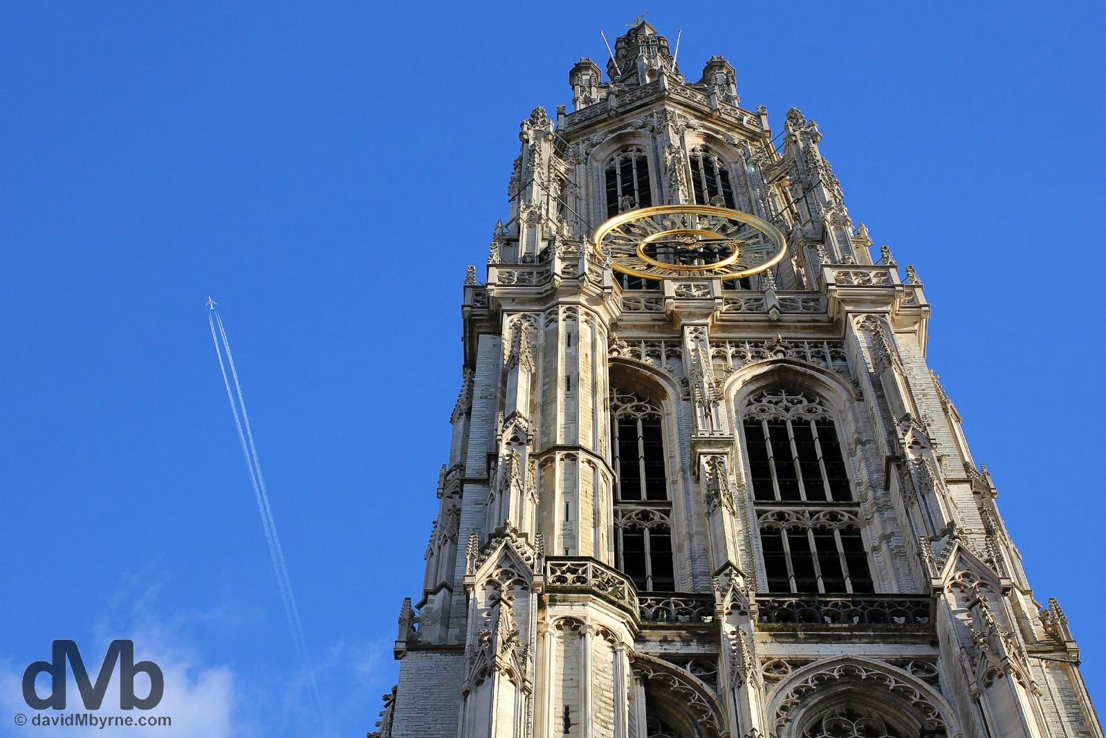 Tower of the Onze Lieve Vrouwekathedraal in Handschoen Markt, central Antwerp, Belgium. January 17, 2016.