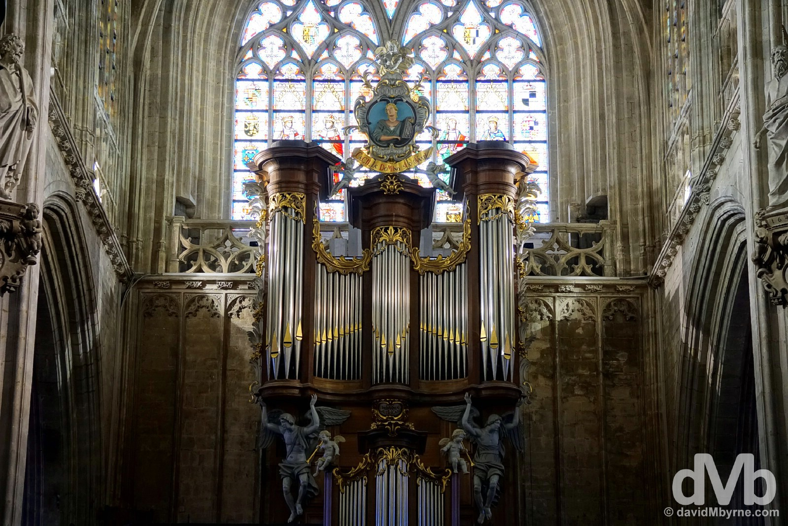 The impressive organ of the Our Land of the Sablon Church in Brussels, Belgium. January 14, 2016.