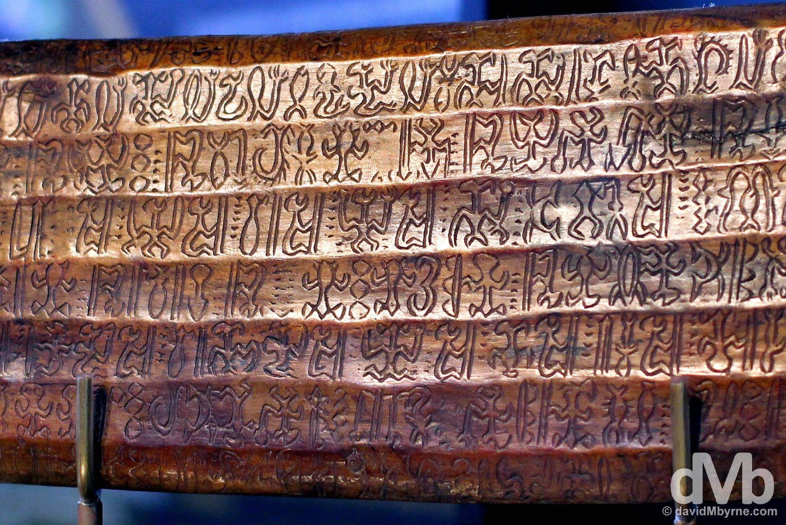 A Rongorongo tablet on display in the Museo Antropologico P. Sebastian Englert, Easter Island, Chile. September 30, 2015.