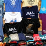 Apparel on sale in Seymour Airport, Isla Baltra, Galapagos Islands, Ecuador. July 21, 2015.