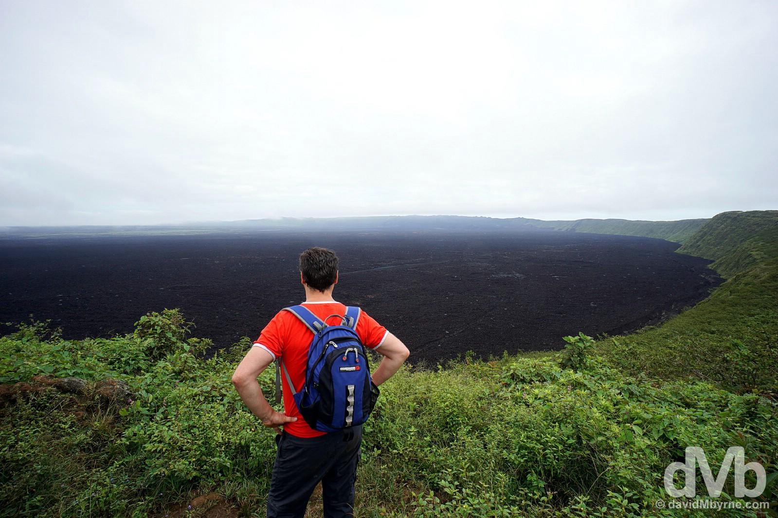 Overlooking the massive caldera of Sierra Negra on Isla Isabala, Galapagos, Ecuador. July 20, 2015.