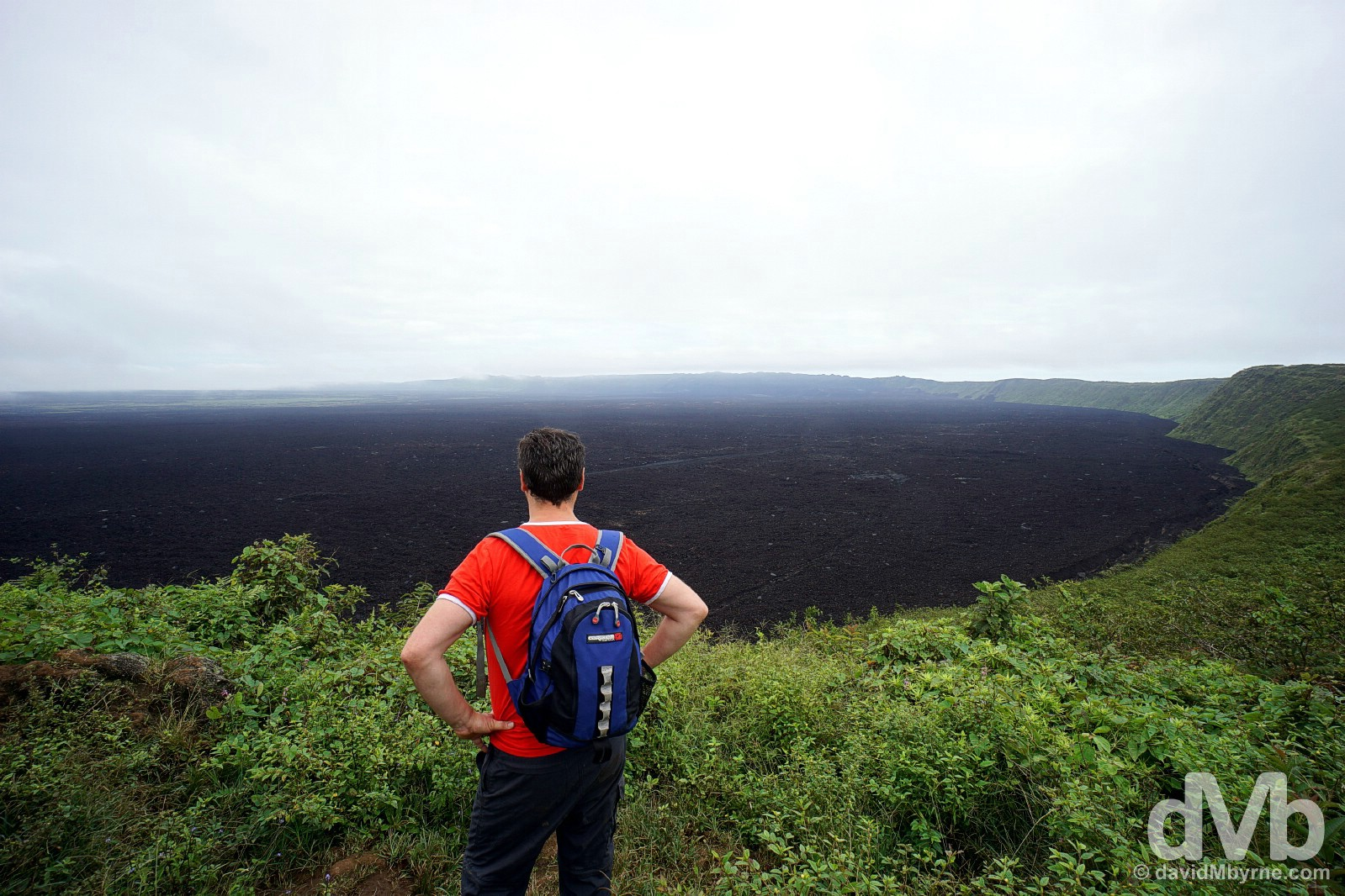 Overlooking the massive caldera of Sierra Negra on Isla Isabala, Galapagos, Ecuador. July 20, 2015.