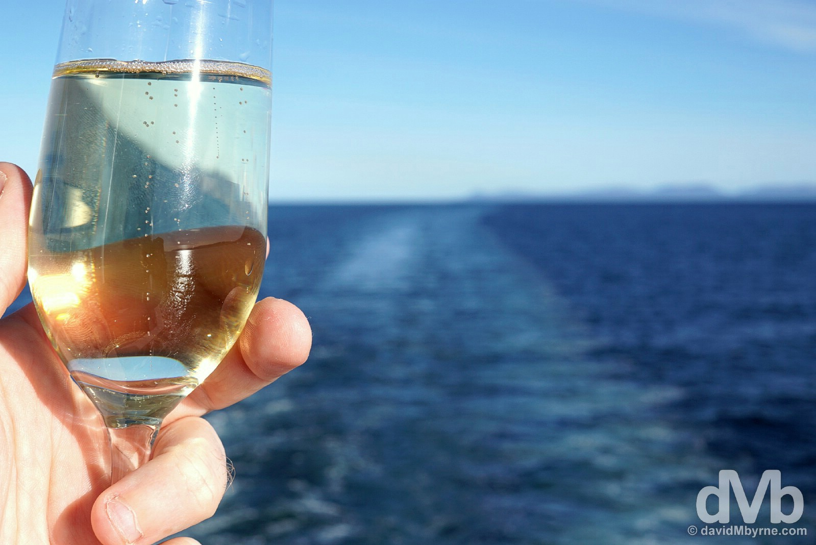 Welcome back champagne on the deck of the M/V Ocean Endeavour in the Beagle Channel. December 4, 2015.