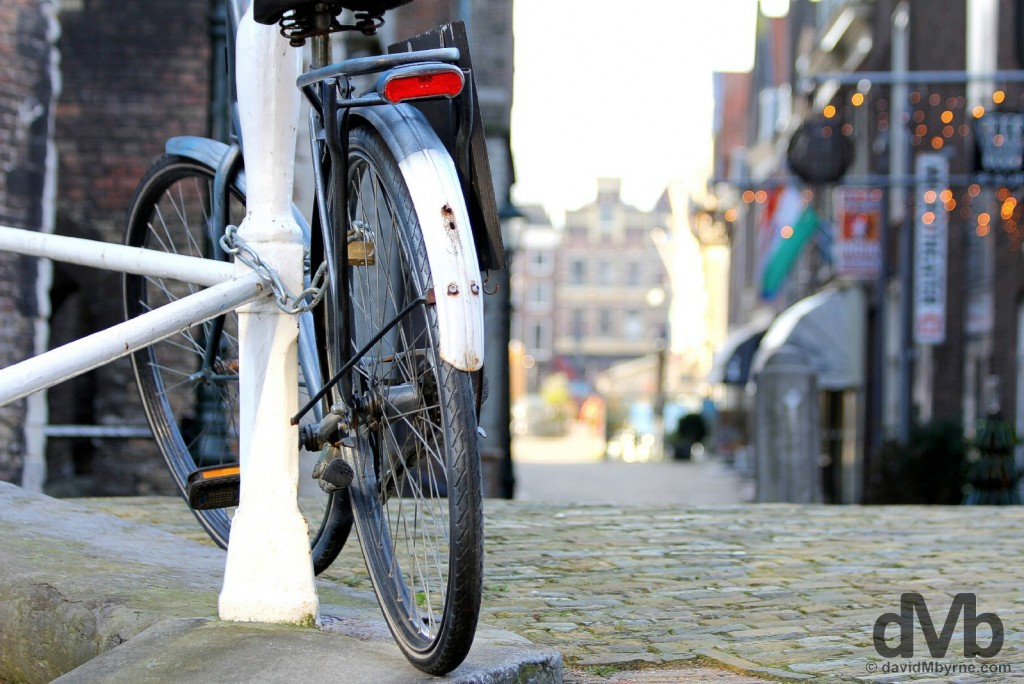 A bicycle by the canal in Delft, Netherlands. January 18, 2016.