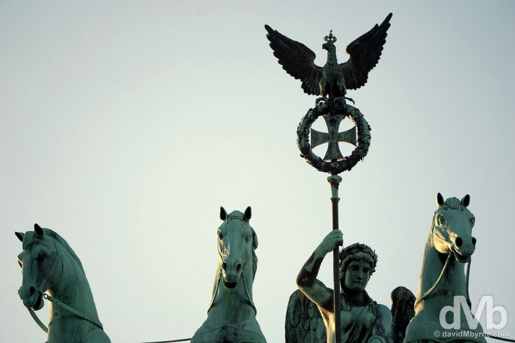 Detail of the Quadriga atop the Brandenburger Tor (Brandenberg Gate) in Berlin, Germany. January 21, 2016.