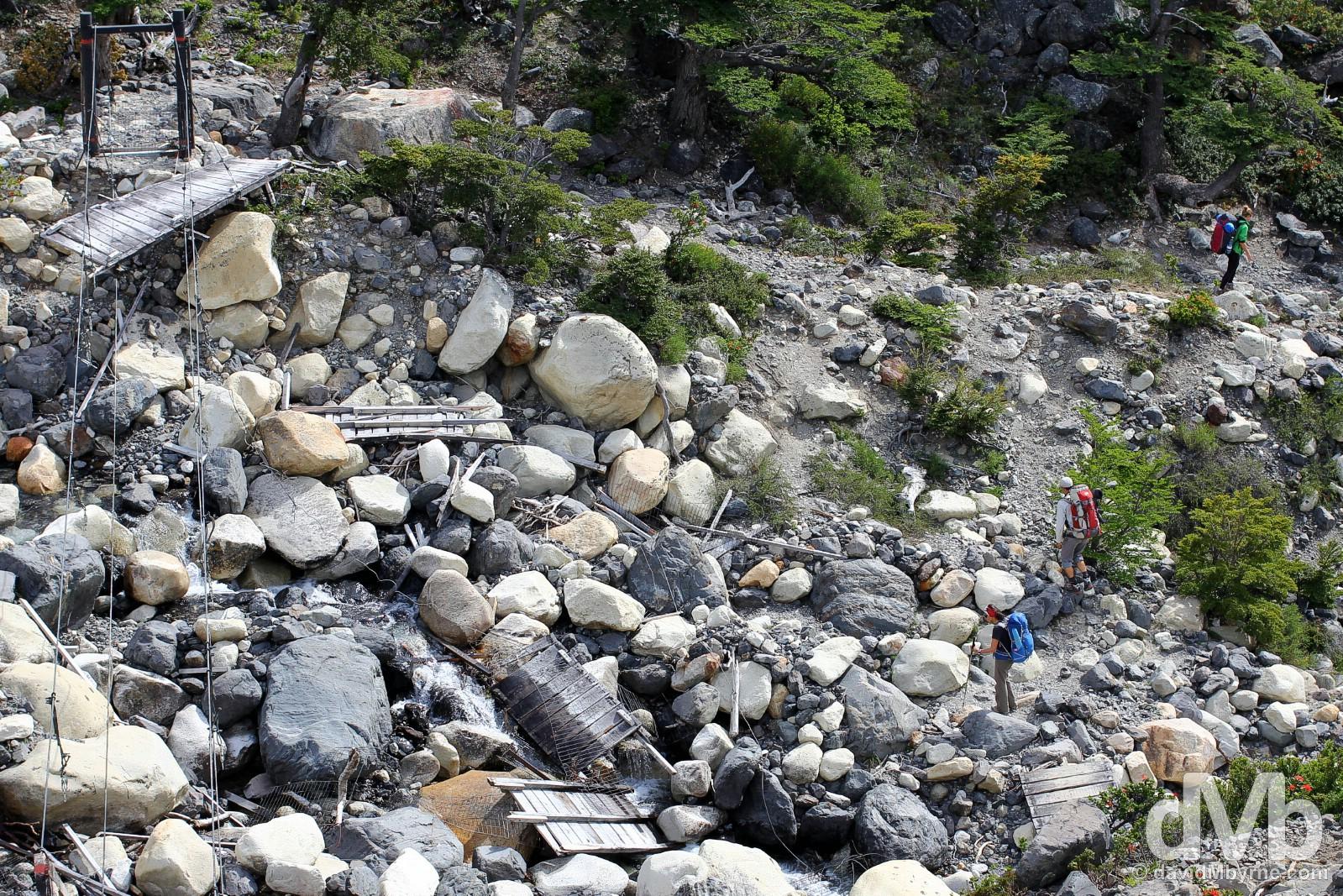 A broken bridge in Torres del Paine National Park, Chile. November 23, 2015.