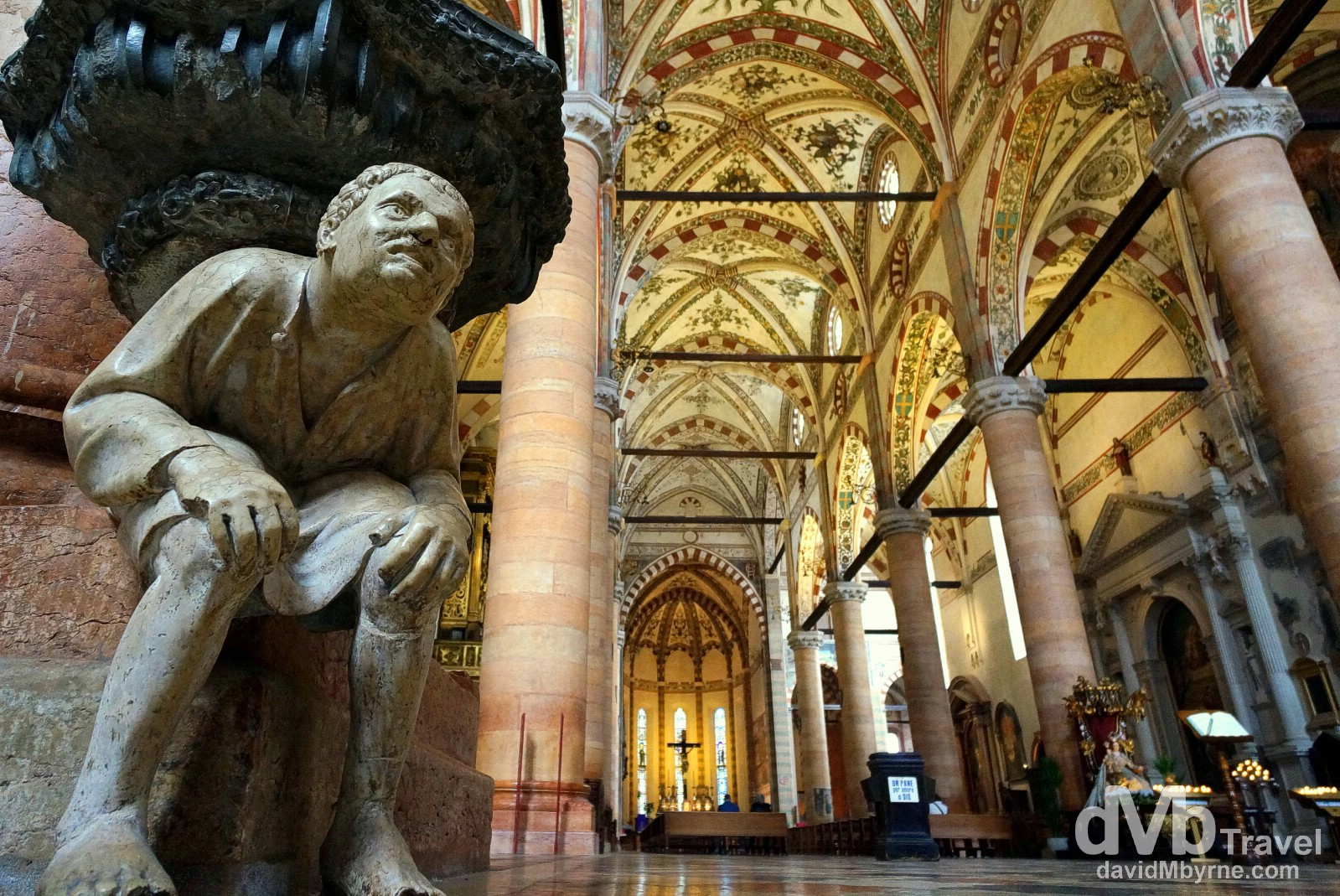 The interior of the Church of Saint Anastasia in Verona, Italy. March 17, 2014.